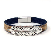 Feather Denim Natural Cork Aromatherapy Diffuser Bracelet with Magnetic Clasp by Simply Cork