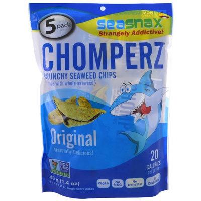 SeaSnax, Chomperz, Crunch Seaweed Chips, Original, 5 Single Serve Packs, 0.28 oz (8 g) Each(pack of 12)