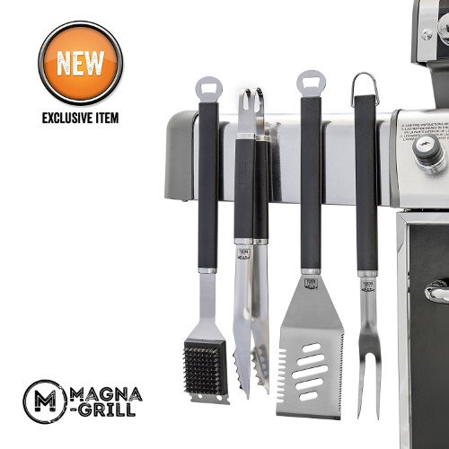 Magna-Grill by Yukon Glory 3pc Magnetic Stainless Steel Grilling, BBQ & Tailgating Tools - Grilling Fork, Spatula & Tongs - the ultimate GRILLING / BBQ ACCESSORIES you will own