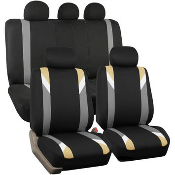 FH Group Airbag Compatible Modernistic Flat Cloth Full Set Seat Covers, Beige