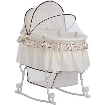 Dream On Me Lacy Portable 2 in 1 Bassinet and Cradle, Green and White