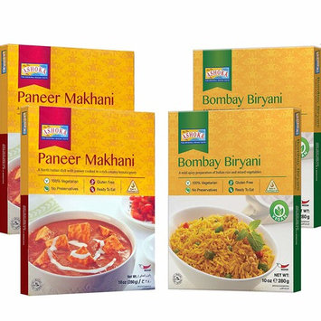 Ashoka - RTE (Combo #1) Paneer Makhani & Bombay Biryani (4 Pack) 10oz x 4, Ready to Eat Meals