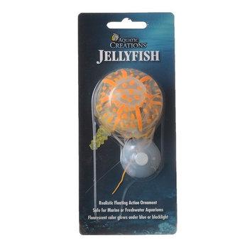 Aquatic Creations Jellyfish Aquarium Realistic Floating Ornament Orange Small