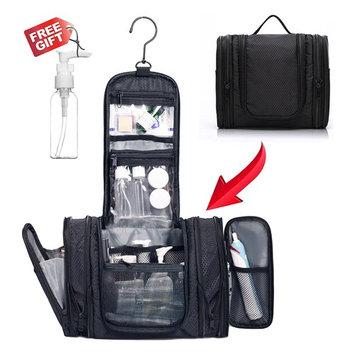 WANDF Expandable Toiletry Bag Dopp Kit TSA Approved Bottles Water Resistant Nylon, Black