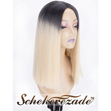 Blonde Ombre Short Bob Wig for Women, 2 Tone Dark Roots to Blonde Wig with Middle Parting Scheherezade Straight Cheap Synthetic Wigs Full Machine Made