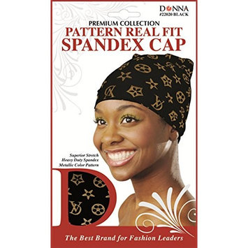 (PACK OF 6) DONNA Pattern Real Fit Spandex Cap #BLACK #22020 : Beauty