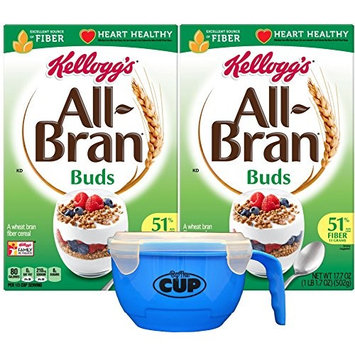 By The Cup Cereal Bowl Bundle with Kellogg's All-Bran Buds Cereal, 17.7 Ounce Box (Pack of 2)