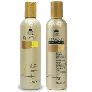Avlon Keracare 1st Lather Shampoo 8oz + Natural Textures Leave in Conditioner 8oz by Avlon