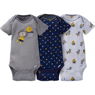 born Baby Boy Assorted Short Sleeve Onesies Bodysuits, 3-Pack