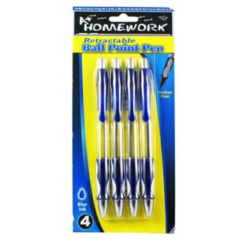A+homework Retractable Ball Point Pens - 4 Pack - Blue Ink