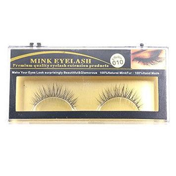 SODIAL(R) Premium Quality False Eyelashes Handmade Natural Long Thick Mink Fur Eyelashes Soft Fake Eye Lash extensions Terrier Full Strip Lashes 010 (Size: 1 pair, Color: Black)