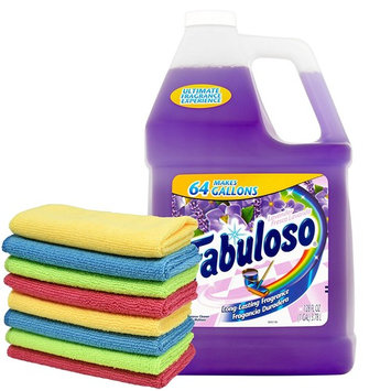 Fabuloso Makes 64 Gallons Lavender Purple Liquid Multi-Purpose Professional Household Non Toxic Fabolous Hardwood Floor Cleaner Refill + Uben Microfiber Assorted Colors 12 X 12 Cleaning Cloth - 8 Pack