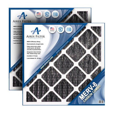 Airex 20x20x2 Carbon MERV 8 Pleated AC Furnace Air Filter - Actual Size: 19 ½ X 19 ½ X 1 ¾ (Pack of 3)