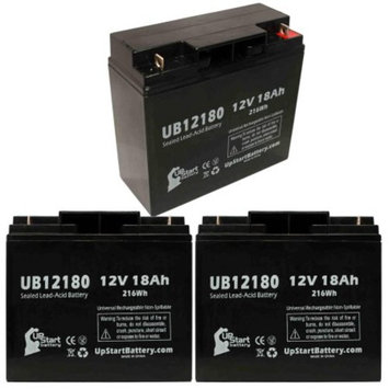 3x Pack - TEMPEST TR22-12 Battery Replacement - UB12180 Universal Sealed Lead Acid Battery (12V, 18Ah, 18000mAh, T4 Terminal, AGM, SLA)