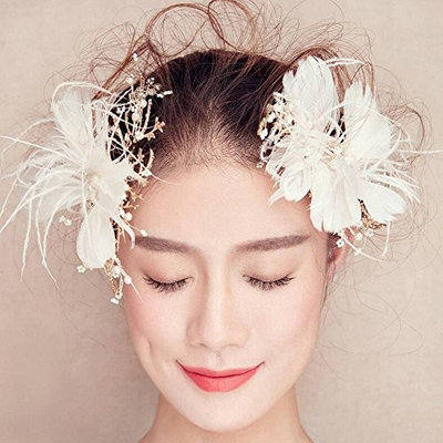 Missgrace Feather Hair Clip Pin Bridal Wedding Dance Party Hair Accessory Women Hair Jewelry