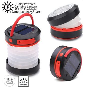 Indigi® LED Camping Lantern & Flashlight w/ Solar Panels & microUSB/USB Port Rechargeable - 1800mAh Capacity - 65 Lumens