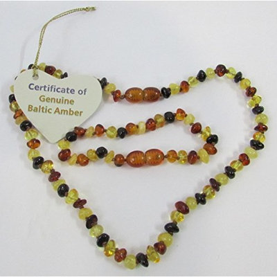 Baltic Amber Baby Teething Child Bracelet and Necklace Set Polished Rounded Beads Baroque Multicolour Beads