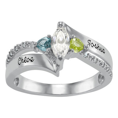 Keepsake Personalized Women's Cubic Zirconia Beatrix Class Ring with Birthstones available in Valadium, Silver Plus, Yellow and White G