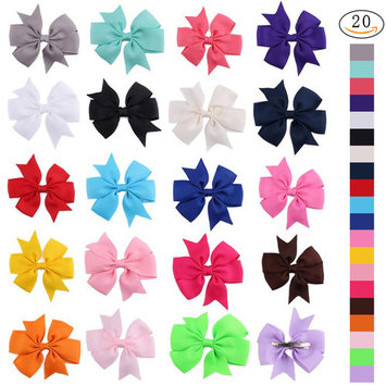 ZXZY Grosgrain Hair Bows with Alligator Teeth Clips for Girls Baby Kids 20Pcs