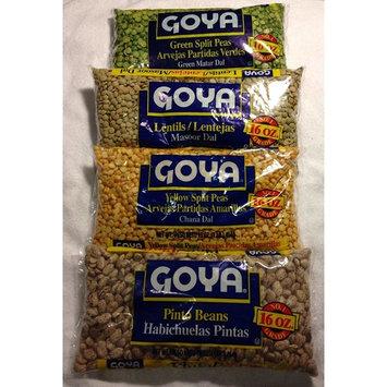 GOYA Dried Lentils, Pinto Beans, Yellow Split Peas & Green Split Peas - Variety Pack - 16oz Each 1 Lb Bag (4 Pack) Split Pea or Lentil Soup - Refried Beans - Recipes on Bag, Dip, Healthy Protein