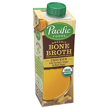 Pacific Foods Organic Chicken Bone Broth with Turmeric, Ginger, & Black Pepper, 8oz