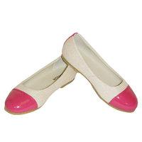 Ivory Dark Pink Patent Toe Flat Toddler Little Girls Dress Shoes 7T-4
