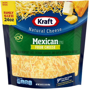 Kraft Mexican Style Four Cheese Shredded Natural Cheese
