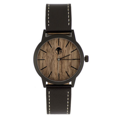 Wood Watch Walnut Wooden Face Waterproof Black Steel Case Black Genuine Leather Band Gift Box by Viable Harvest