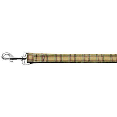Mirage Pet Products 125013 1006KH Plaid Nylon Collar Khaki 1 wide 6ft Lsh