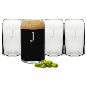 Cathy's Concepts 16 oz. Personalized Craft Beer Can Glasses (Set of 4) A-Z