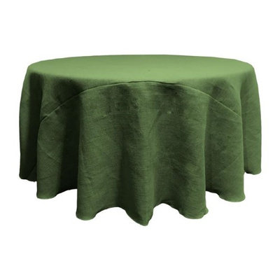 LA Linen TCBurlap120R-GreenHunter Round Dyed Natural Burlap Tablecloth Hunter Green - 120 in.