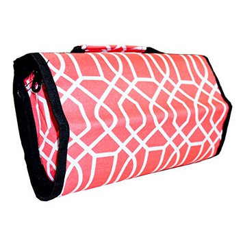 Ever Moda Geometric Hanging Travel Toiletry Bag (Coral Pink)