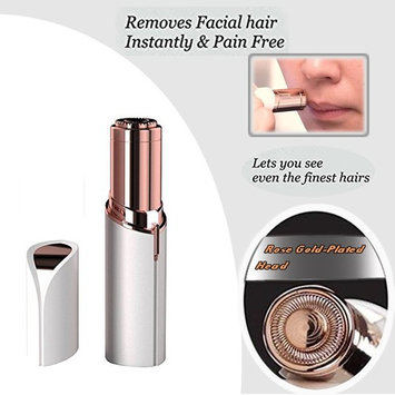 Rechargeable Professional Women's Painless Hair Remover Mini Depilator 18K Gold Plated with LED Light AS SEEN ON TV for Women Lipstick Shaver-White