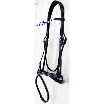 Horse Equine English Padded Leather Bridle Crystal Bling Full Blue White 803S41