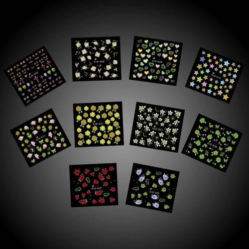 Bundle Monster BMC Mixed Design Nail Polish Art Decorative Pattern Stickers-10pc Multicolor Set