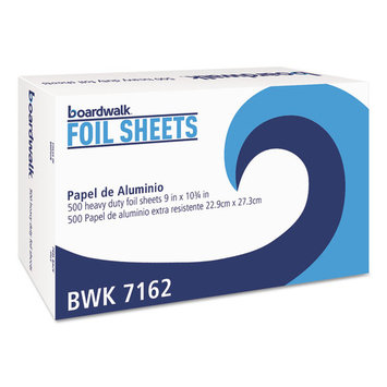 Boardwalk Pop-Up Aluminum Foil Wrap Sheets, 9 x 10 3/4, Silver, 500/Box, 6 Boxes/Carton (7162BW)