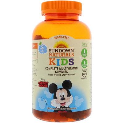 Sundown Naturals Kids, Complete Multivitamin Gummies, Disney Mickey Mouse, Grape, Orange & Cherry Flavored, 180 Gummies [Package Quantity : 180 Gummies]