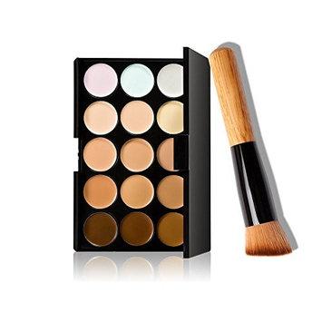 Demarkt Professional 15 Colors Concealer Camouflage Contour Eye Face Cream Makeup Palette with Oblique head Powder Brush