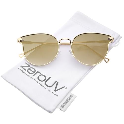 zeroUV - Women's Metal Frame Arrow Temples Colored Mirror Flat Lens Cat Eye Sunglasses - 58mm