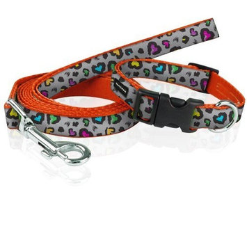 YakPak Dog Leash and Collar Set, X-Small, Grey Heart Leaopard