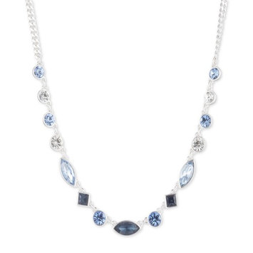 Silver-Tone Crystal Collar Necklace, 16