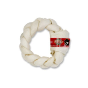 The Rawhide Express Natural Braided Donut Dog Chew, 5 by 6-Inch
