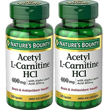 Nature's Bounty Acetyl L-Carnitine, 400 mg, with Alpha Lipoic Acid 200 mg, 30 Capsules (Pack of 2)