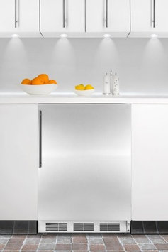 Summit CT66JBISSHV: Built-in undercounter refrigerator-freezer with white cabinet, stainless steel door, and