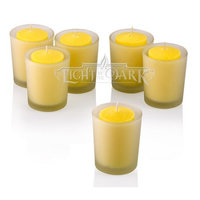 Light In The Dark White Frosted Glass Round Votive Candle Holders With Citronella Yellow votive candles Set of 72