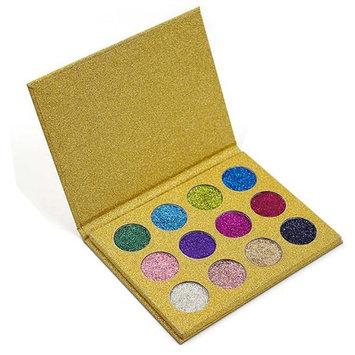 Glitter Eyeshadow Makeup Palette,Vodisa 12 color Pressed Glitter Powder Palette Long-Lasting Metallic Shimmer Eye shadow Pallet Eye Makeup Glow Highly Pigmented Mineral Pressed Glitter Cosmetic Makeup