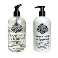 Greenwich Bay Trading Company Garden Collection Bundle: Fresh Milk & Jasmine - 16 Ounce Shea Butter Lotion & 16 Ounce Hand Soap
