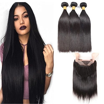 360 Full Lace Frontal With Bundles Straight 10A Brazilian Human Virgin Hair 3 Bundles with 360 Lace Frontal (22.5x4x2) Pre Plucked 20 22 24 + 18 inches