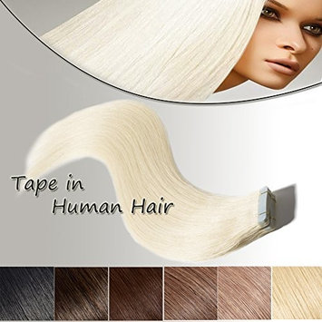 Tape In Hair Extensions Human Hair Platinum Blonde 22 inch 20pcs 50g Long Straight Remy Hair Double Sided Tape on(22'' #60)+10pcs Free Tapes
