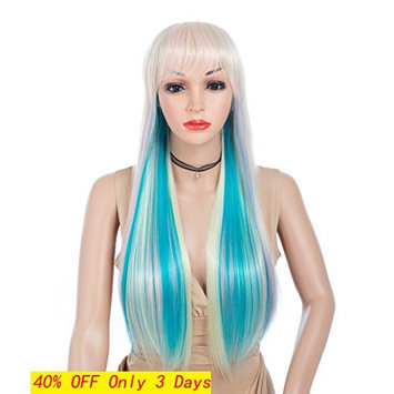 Colorful Synthetic Long Straight Hair Wigs Mixed Color (Pink/Blonde/ Purple/Aqua Blue) with Air Bangs Full Wig Heat Resistant Colorful Long Wigs fo White Women (28 inch)